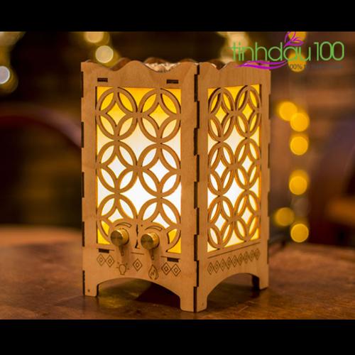 Đèn xông tinh dầu gỗ 3D Hoa văn tròn