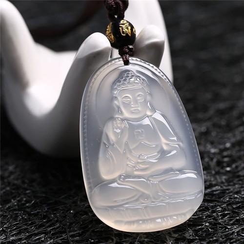 Dây chuyền Phật Adi Đà  mã não trắng size bé bản mệnh người tuổi Tuất, Hợi