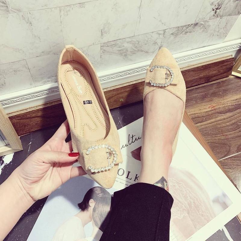 Giày búp bê mũi nhọn khoá C |Giày búp bế nữ 4