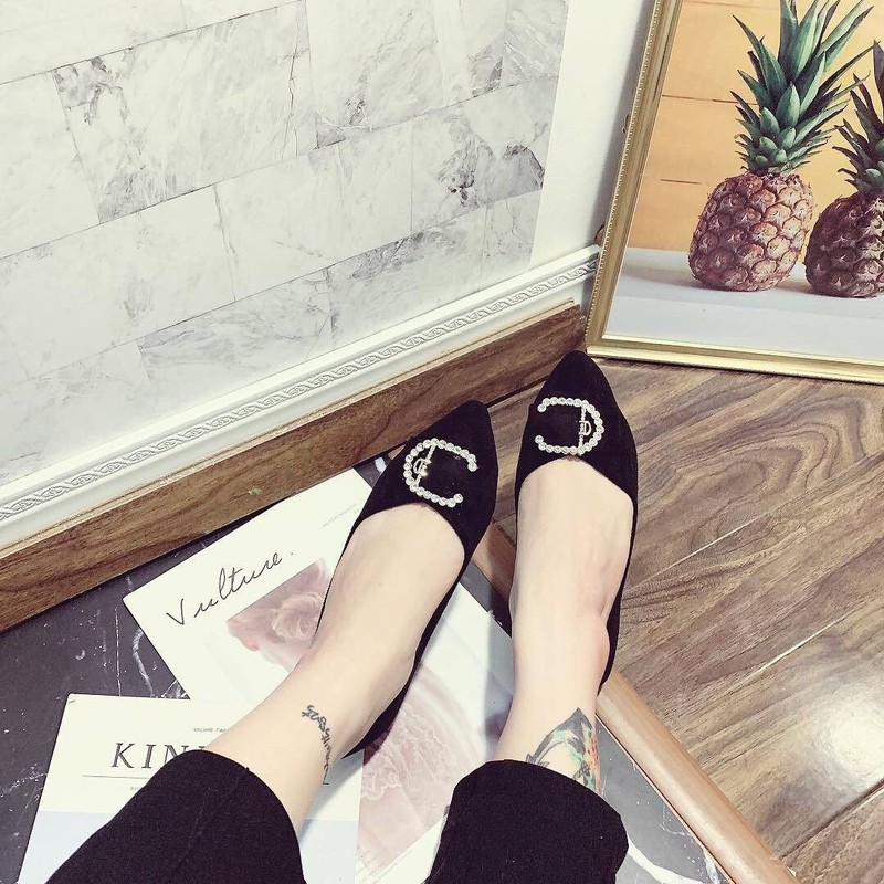 Giày búp bê mũi nhọn khoá C |Giày búp bế nữ 3