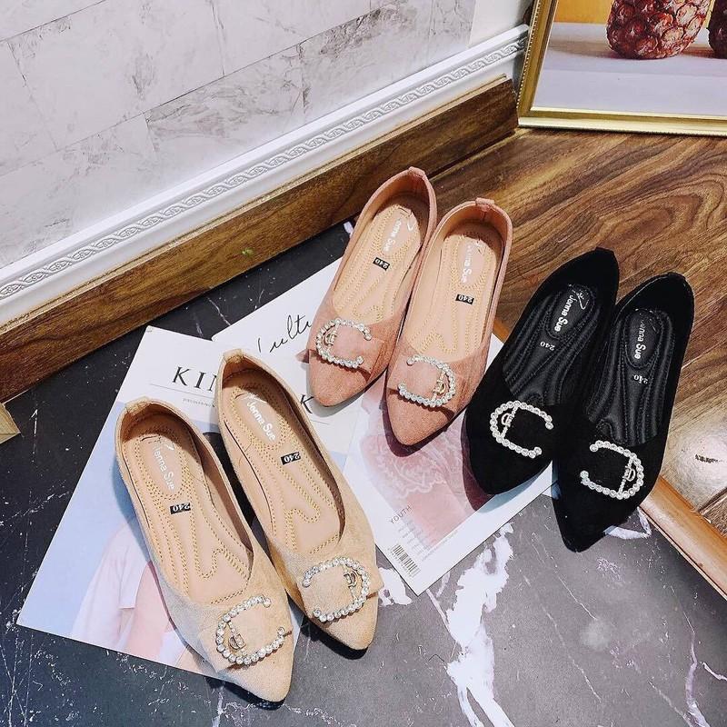Giày búp bê mũi nhọn khoá C |Giày búp bế nữ 2
