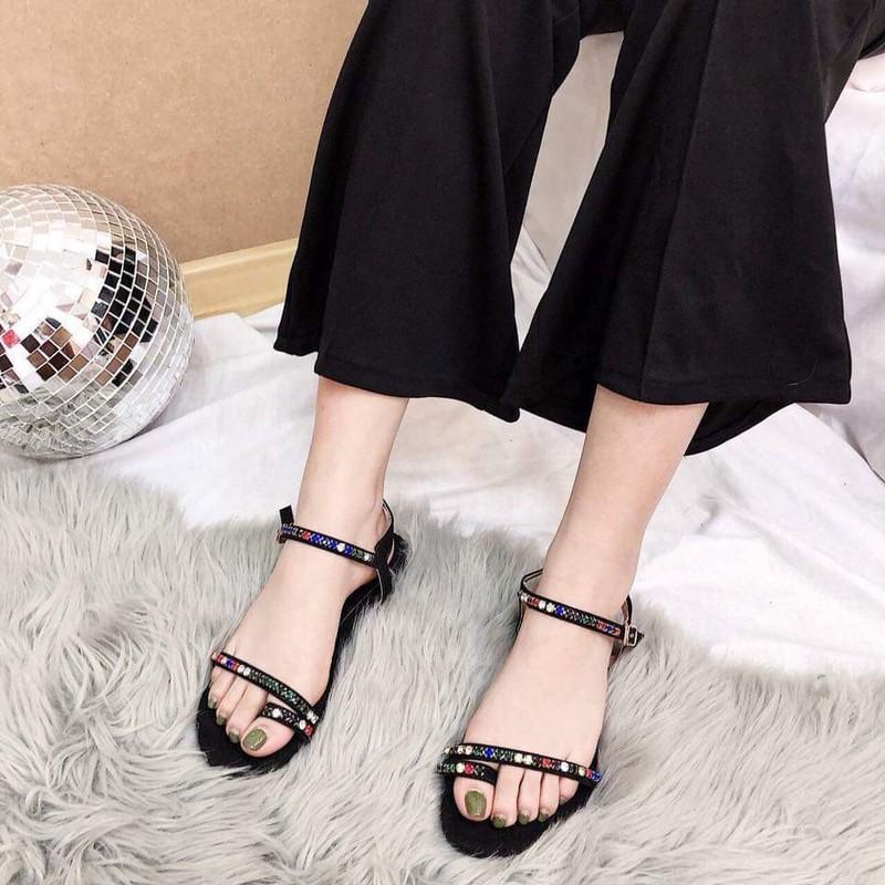 Giày sandal xỏ ngón đá màu |Giày sandal nữ 3