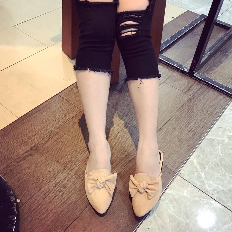 Giày sục nơ da lộn   Giày sục nữ 4