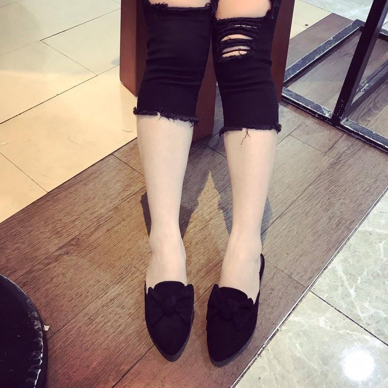 Giày sục nơ da lộn   Giày sục nữ 3