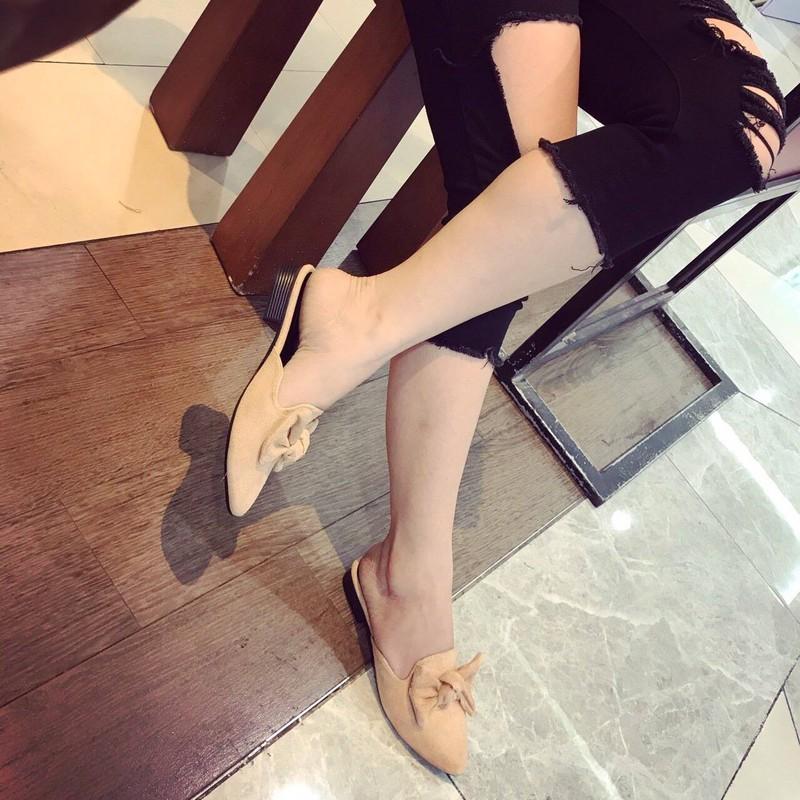 Giày sục nơ da lộn   Giày sục nữ 1