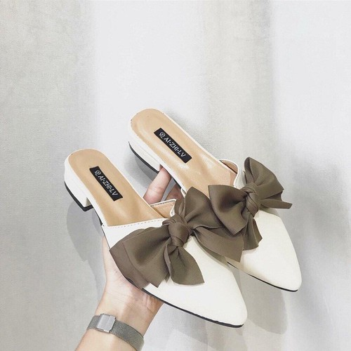Giày sục nữ nơ da lụa mềm , dép sục nữ sang chảnh, dép nữ , dép lê nữ LỤA SIÊU HOT - Size 36