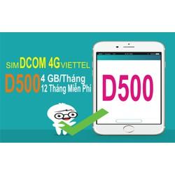 Sim 4G Viettel D500 1 năm 4Gb 1 tháng  Giá 229k dùng một năm không nạp tiền