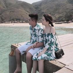 Set Đồ đôi đi biển gồm áo sơ mi nam và váy thiết kế nữ ảnh thật