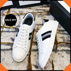 Giày thể thao nam sneaker trắng kiểu 3 sọc bán chạy