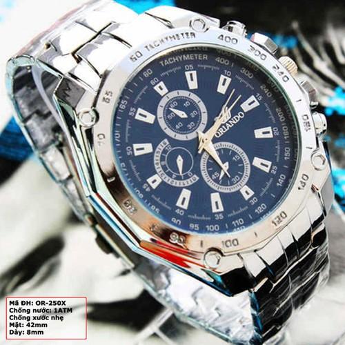 Đồng hồ dây kim loại sang trọng màu bạc mặt xanh dương OR-250X