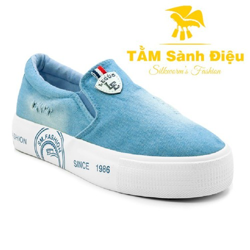 Slip on nữ - Giày lười nữ - Giày mọi nữ TSD S0053 bằng vải jeans đế bệt 8830 - đế thấp màu xanh - đế bằng trơn