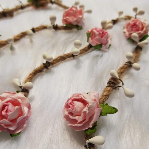 M382-199 Dây hoa hồng - dây cối - hột trắng