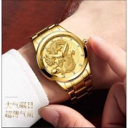 Đồng hồ nam khắc rồng nổi  3d sang trọng