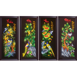 tranh thêu tứ quý - 1 bộ 4 bức xuân hạ thu đông - thêu thành phẩm