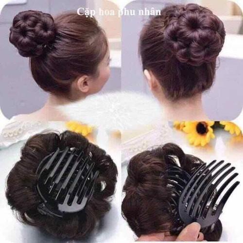 tóc kẹp búi hoa cao cấp có sẵn