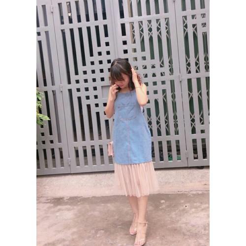 Đầm jean nữ chân váy phối lưới