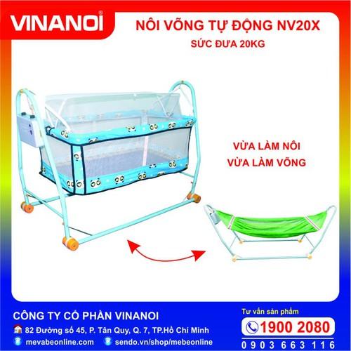 Nôi võng tự độngcho bé giá rẻ Vinanoi - NV20X màu xanh