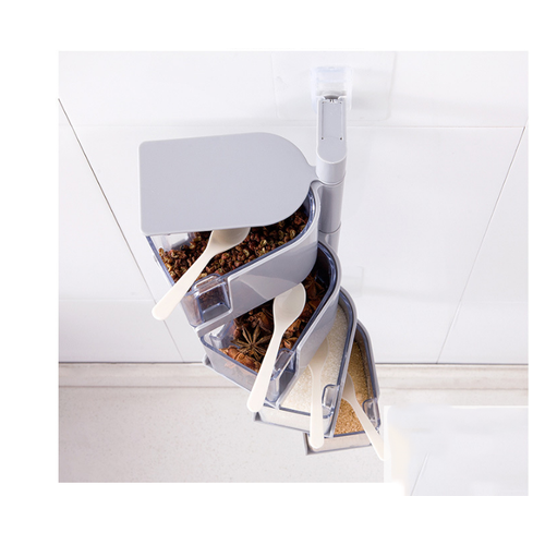 Kệ Đựng Gia Vị Nhựa 4 Tầng Xoay 360 Độ Tiện Lợi