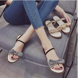 Giày sandal nơ caro đế gấu  Giày sandal thời trang nữ