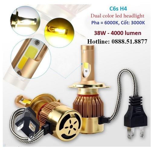 Đèn pha ô tô - Bộ 2 bóng đèn C6S chân H4 38W - 4000 Lumen - 11503843 , 17380667 , 15_17380667 , 400000 , Den-pha-o-to-Bo-2-bong-den-C6S-chan-H4-38W-4000-Lumen-15_17380667 , sendo.vn , Đèn pha ô tô - Bộ 2 bóng đèn C6S chân H4 38W - 4000 Lumen