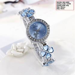 Đồng hồ nữ dây kim loại đính đá màu xanh MS-160X