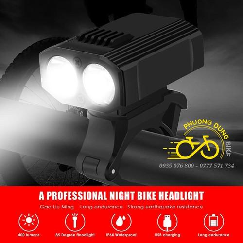 Đèn pin xe đạp siêu sáng 2 bóng Y16 400LM 1200mAh