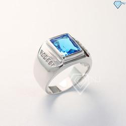 Nhẫn bạc nam, nhẫn bạc nam đính đá, nhẫn bạc phong thủy, nhẫn hột xanh dương NNA0047 - Trang Sức TNJ