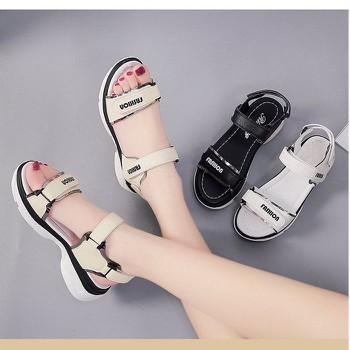 Giày sandal bánh mì quai dán ánh kim |Giày sandal bánh mì nữ