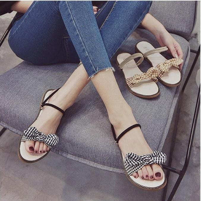 Giày sandal nơ caro đế gấu  Giày sandal thời trang nữ 6