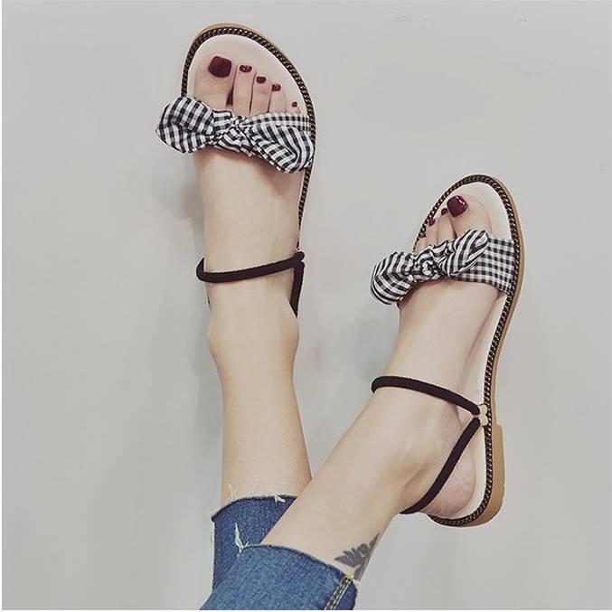 Giày sandal nơ caro đế gấu  Giày sandal thời trang nữ 3