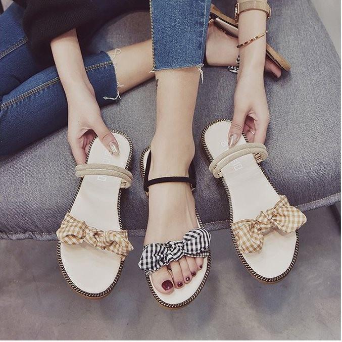Giày sandal nơ caro đế gấu  Giày sandal thời trang nữ 5