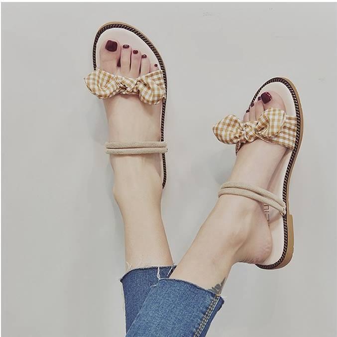Giày sandal nơ caro đế gấu  Giày sandal thời trang nữ 4