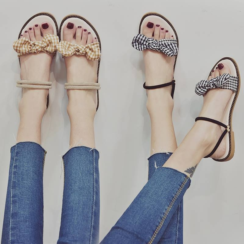Giày sandal nơ caro đế gấu  Giày sandal thời trang nữ 7