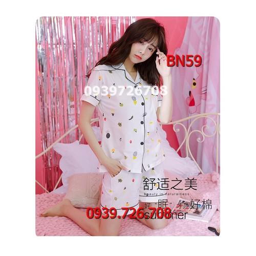 Bộ ngủ nữ pijama chất thun cotton dễ thương  màu trắng