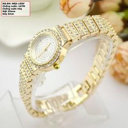 Đồng hồ nữ dây kim loại đính đá vàng NRD-199