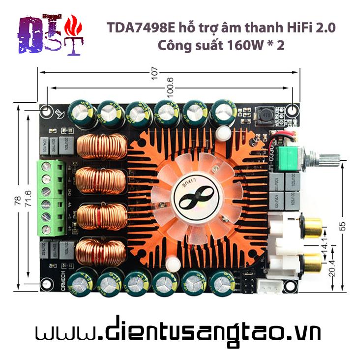 Mạch khuếch đại âm thanh TDA7498E hỗ trợ âm thanh 2.0HIFI 160Wx 2 BTL220W