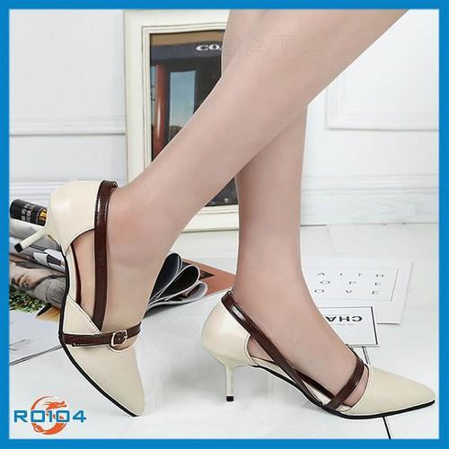 Giày cao gót bít mũi nữ cá tính hàng hiệu ROSATA