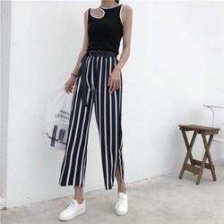 quần culottes sọc đứng xẻ tà Mã: QD1886