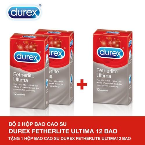 Bộ 2 Hộp Bao cao su Durex Fetherlite Ultima 12s + Tặng 1 Hộp cùng loại - Hãng phân phối chính thức