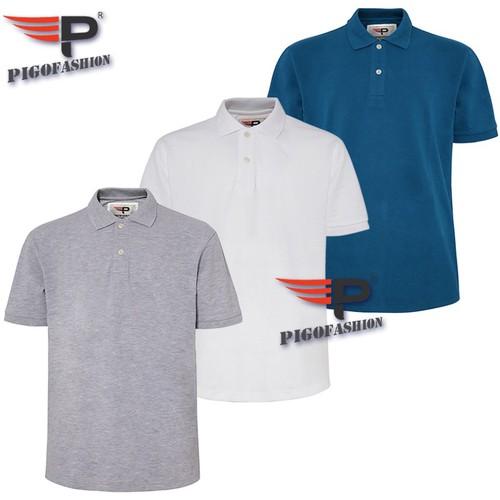 Bộ 3 áo thun nam big size PigoFashion PB01 trên 80kg màu xám trắng xanh công