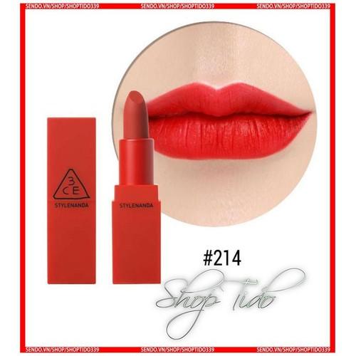 3CE Red Recipe Matte Lip Color, Son Sáp 3ce Chính Hãng 214 đỏ tươi