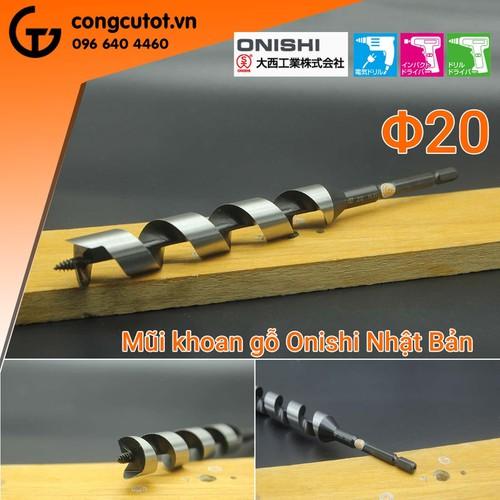 Mũi khoan gỗ xoắn ốc 20mm CL-135mm-Onishi