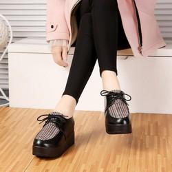 Giày bánh mì độn đế ,dày cột dây, giày da kết hợp vơi chất vải, giày cao 7cm BM080DO