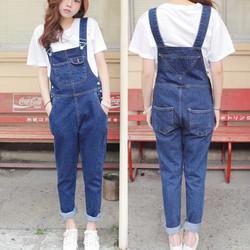 Quần yếm jeans dài trơn