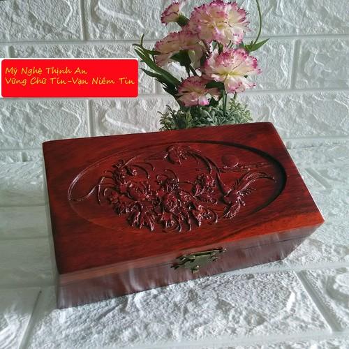 Hộp đựng nữ trang và trang điểm gỗ hương trạm chim hoa lót nhung 5 tấc TS5T