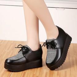 Giày bánh mì độn đế ,dày cột dây, giày da kết hợp vơi chất vải, giày cao 7cm BM080X