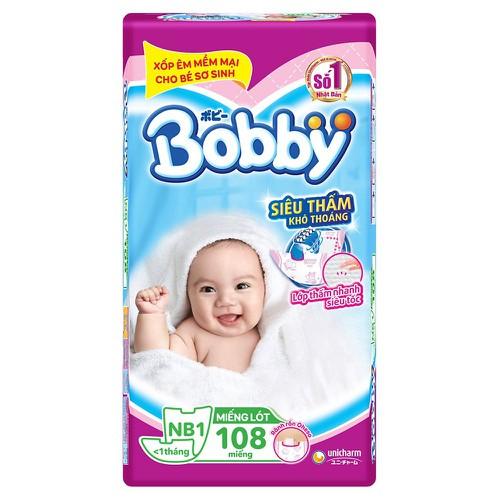 Miếng lót sơ sinh Bobby Nb1 108 miếng kèm 9m dán XS