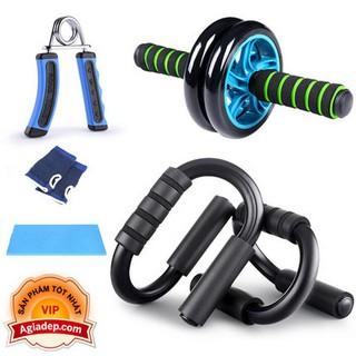 Bộ dụng cụ tập thể dục 5 món hít đất, con lăn, kìm tập cơ tay 3in1 thể dục thể thao Agiadep - 3in1 thumbnail