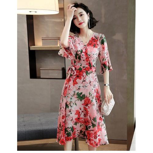 Đầm maxi họa tiết hoa cao cấp size M L XL