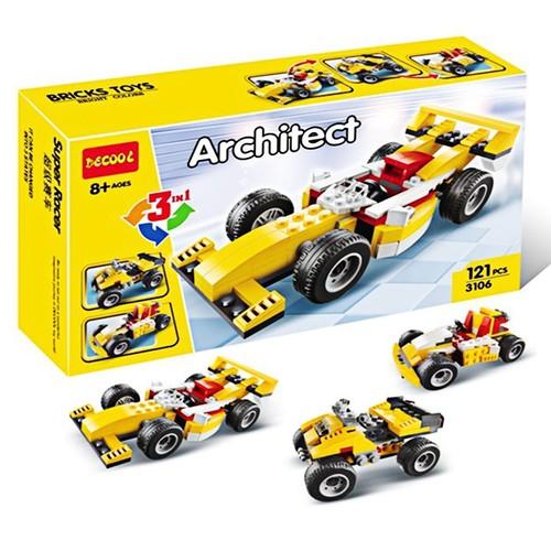 W077782- 121pcs - Đồ chơi lắp ráp xe đua 3 trong 1-  3106